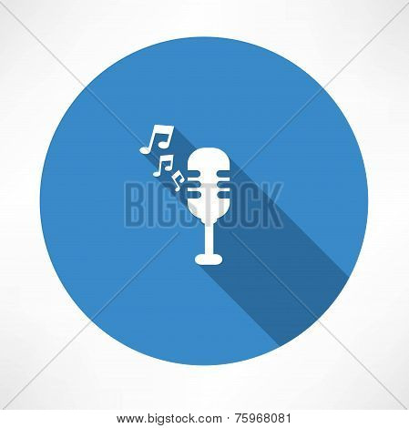 Microphone and melody icon