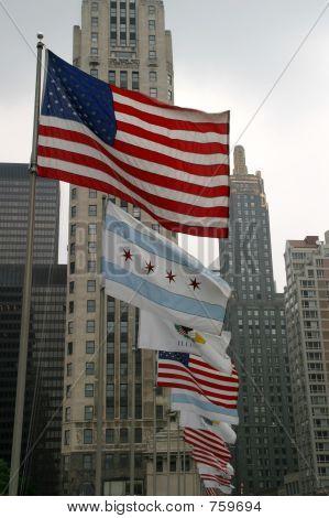 USA-Chicago-Illinois Flags