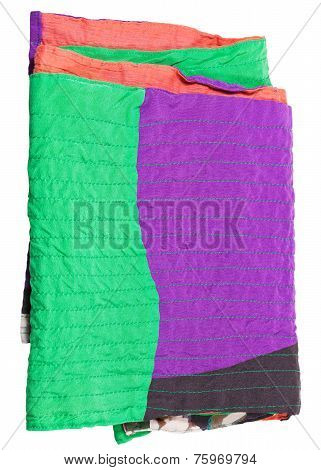 Folded Patchwork Scarf Isolated On White