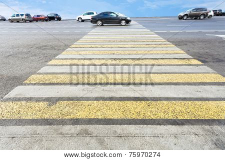 Zebra Of Pedestrian Crosswalk On Road