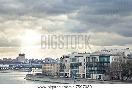 Moskva River, Prechistenskaya Embankment In Moscow