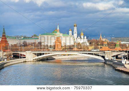 Sunlight Illuminated Moscow Kremlin In Autumn