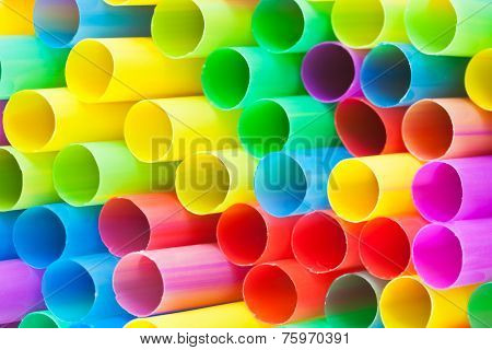 Many Ends Of Multicoloured Plastic Drinking Straws