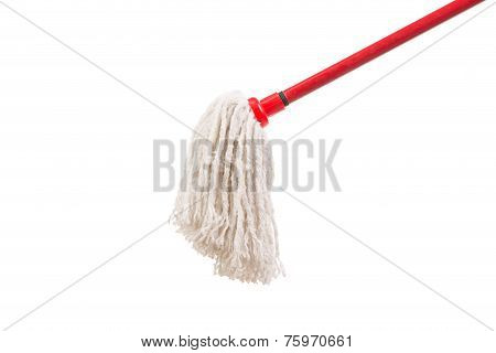 Closeup of red mop for cleaning