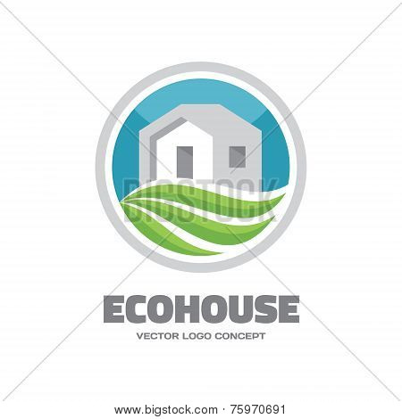 Eco House - vector logo concept. Building and ecology illustration. Vector logo template. Leaves and