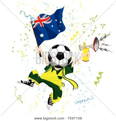 Australia Soccer Fan with Ball Head.