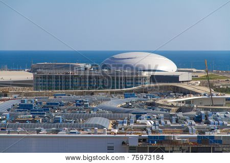 SOCHI, RUSSIA - JULY 26, 2013: Construction of the olympic stadium in Sochi