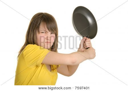 Offended Girl Has Threatened Frying Pan