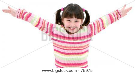 Sete anos de idade camisola de menina listrada sobre branco