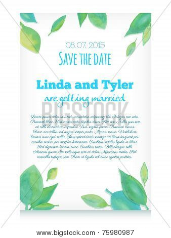 Vector Invitation Card With Green Hand Drawn Watercolor Leaves. Save The Date