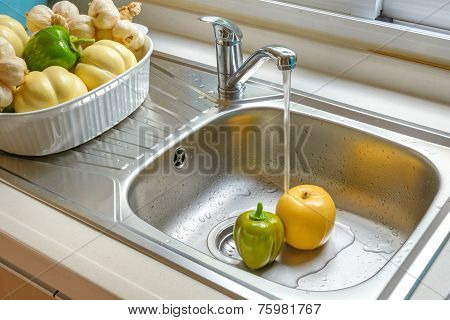 Washing Vegetable And Fruit