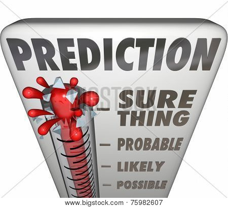 Prediction word on a 3d thermometer measuring the possible or potential opportunity, outcome or result of a project, attempt or initiative