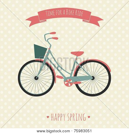 Card with bike. Vector illustration. Time for a bike ride.