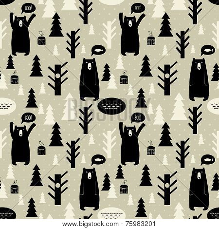 Seamless pattern with forest and bears.