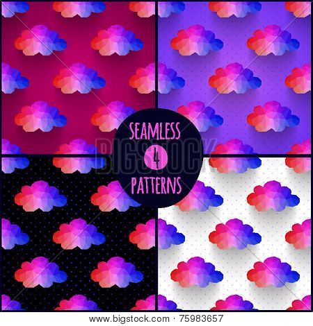 Set of 4 seamless patterns. Background made of triangles. Square composition with geometric shapes.