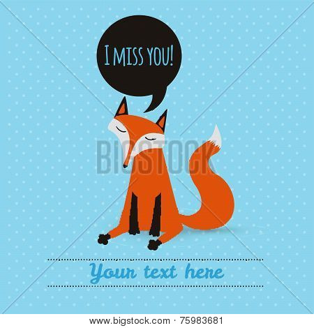 greeting card with cute fox. holiday backdrop. vector illustration