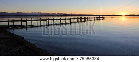 Starnberg Lake And Boardwalk At Sunset