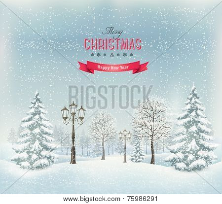 Christmas winter landscape with lampposts. Vector.