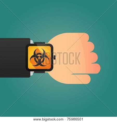 Hand With A Smart Watch Displaying A Biohazard Sign