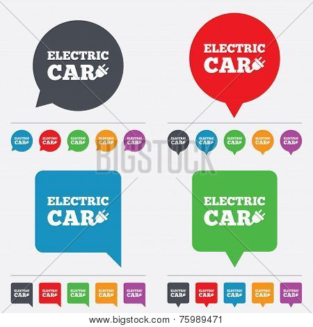 Electric car sign icon. Electric vehicle symbol