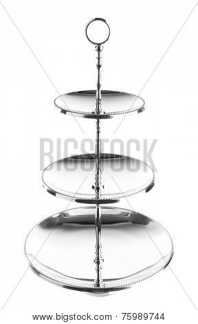 Three tiered silver serving tray isolated on white