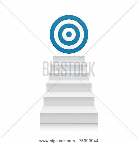 Stairs with blue target icon isolated on white background