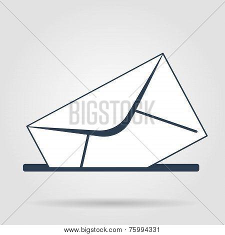 Envelope Mail Symbol On Gray Background