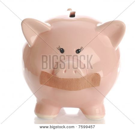 Piggy Bank With Tape On Her Mouth