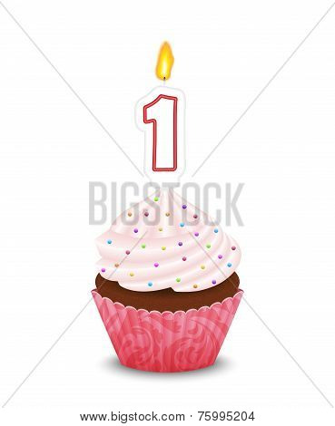 Birthday Cupcake With Candle In Shape Of Number One