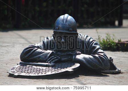 Monument 'plumber Stepan' in the center of Omsk