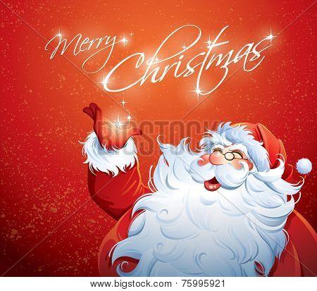 Santa Claus grabbing a star.