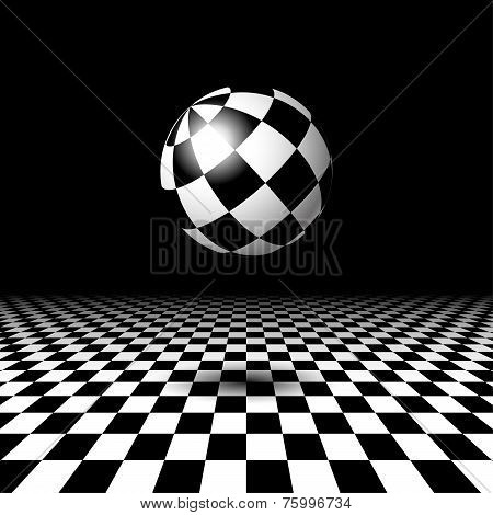 Room with checkered floor and ball