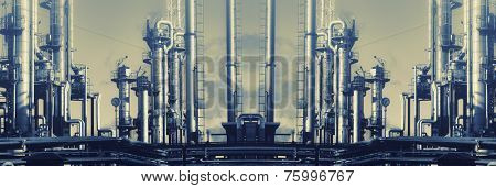 oil, gas and fuel industry, mirrored image with a vintage effect.