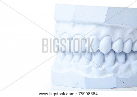 Plaster cast of perfect teeth. All on white background.