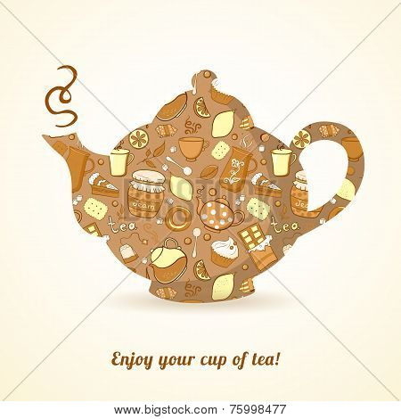 Kettle with tea pattern isolated  background