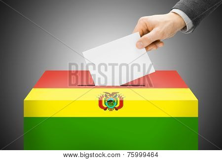 Voting Concept - Ballot Box Painted Into National Flag Colors - Bolivia