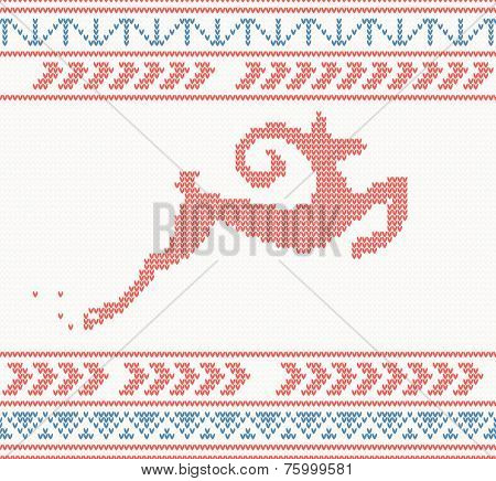 Christmas knitted pattern with jumping goat or deer or sheep. New year's vector illustration