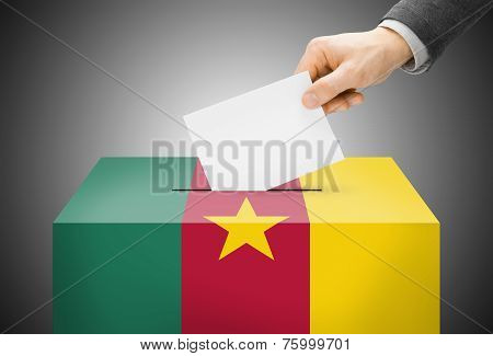 Voting Concept - Ballot Box Painted Into National Flag Colors - Cameroon