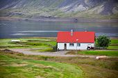 pic of iceland farm  - Typical Farm House at Icelandic Fjord Coast - JPG
