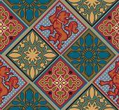 stock photo of gobelin  - Baroque Royal Tile Pattern - JPG