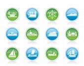 pic of sloop  - different types of boat and ship icons Vector icon set - JPG
