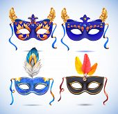 image of masquerade mask  - Carnival masks with feathers - JPG