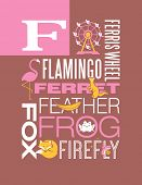 pic of baby frog  - Letter F words typography illustration alphabet poster design - JPG