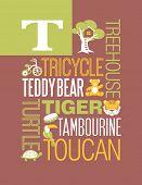 foto of letter t  - Letter T words typography illustration alphabet poster design - JPG