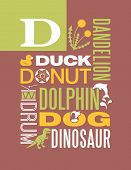 stock photo of letter d  - Letter D words typography illustration alphabet poster design - JPG