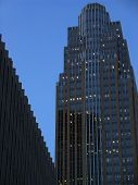 City skyscraper at night poster