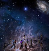 image of sci-fi  - People gather in mystery Sci fi like scene - JPG