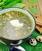 stock photo of sorrel  - Green soup of sorrel and spinach in a bowl with sour cream on a napkin - JPG