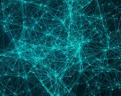 pic of cybernetics  - Abstract digital background with turquoise cybernetic particles - JPG