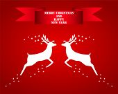 foto of roebuck  - Reindeer silhouettes on a red background vector illustration - JPG